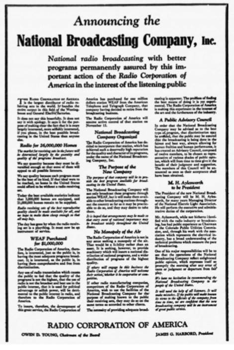September 9, 1926…RCA Creates NBC: A History Lesson – Eyes Of A